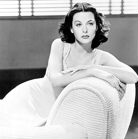 hedy lamarr white gown