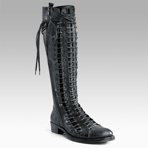Ann Demeulemeester Triple Lace-up Flat Tall Boots 1795